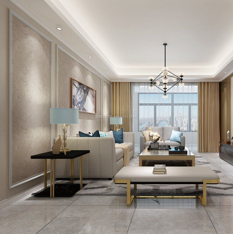 两室两厅现代简约港式装修风格客厅效果图