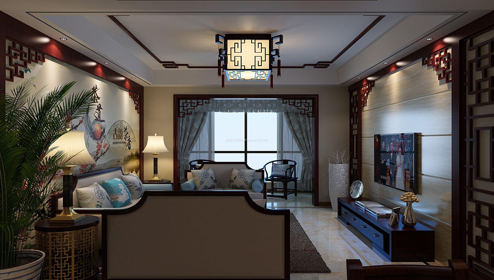 现代中式客厅沙发背景墙设计装修效果图欣赏图片