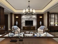 新中式客厅电视墙装修效果图片大全欣赏