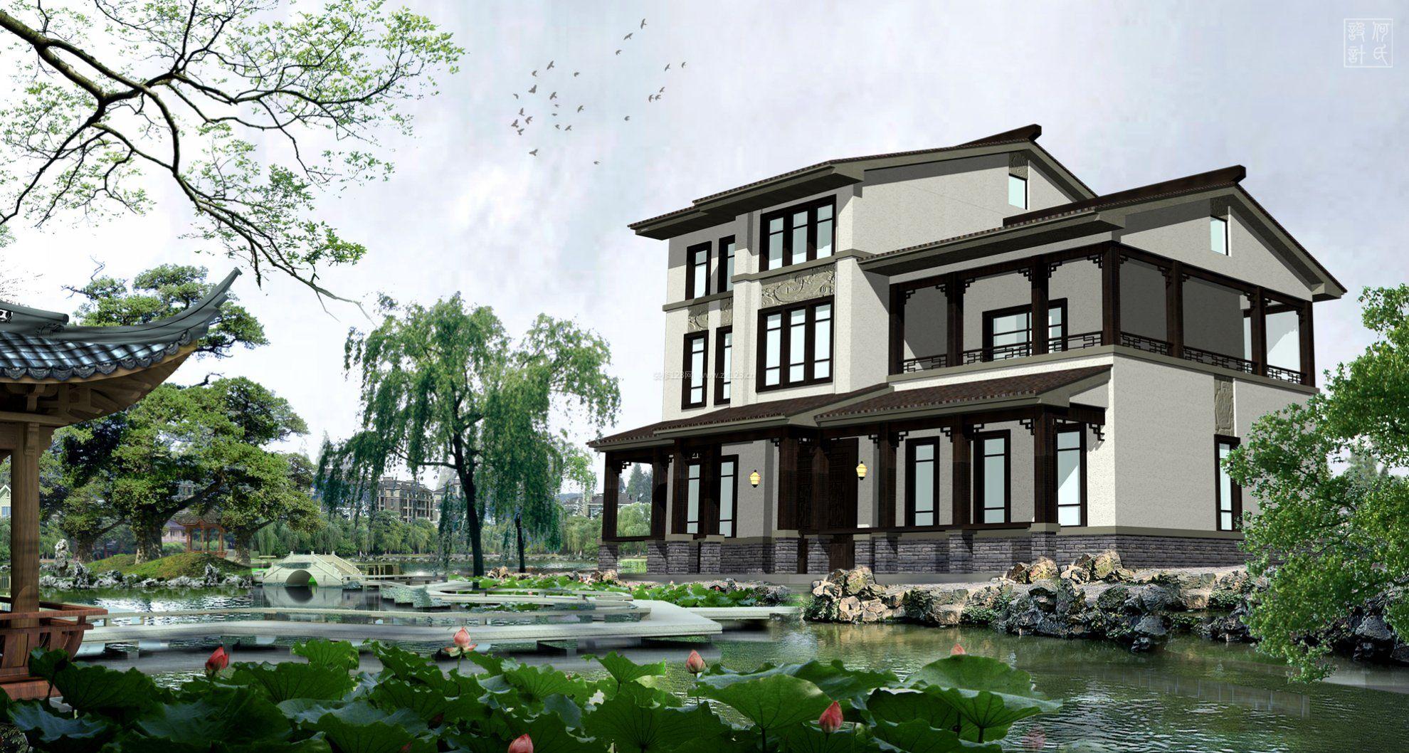 现代中式别墅外观装修效果图图片