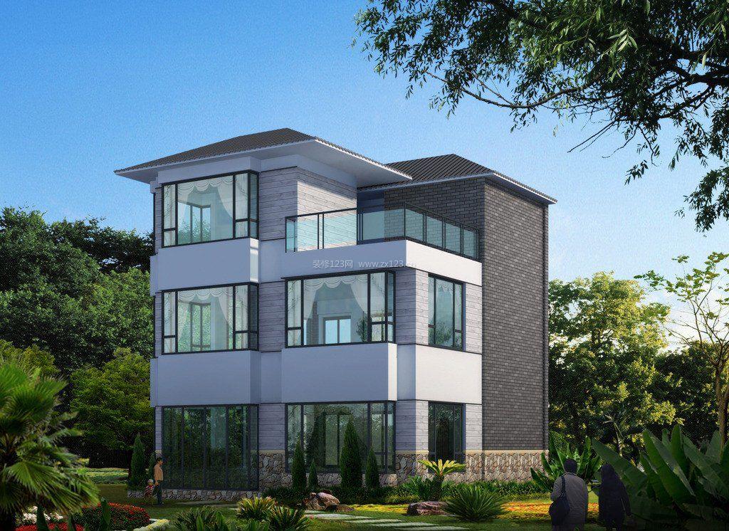 现代新中式别墅外观效果图