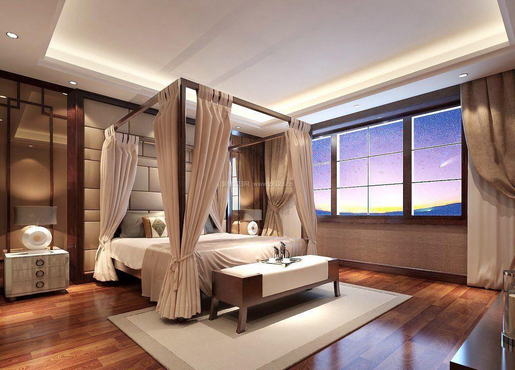 现代中式风格元素卧室四柱床装修效果图片