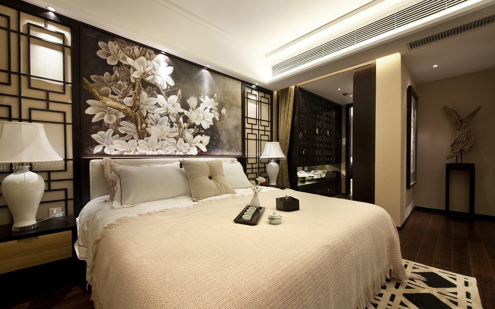 现代中式简约风格床头背景墙装修效果图图片
