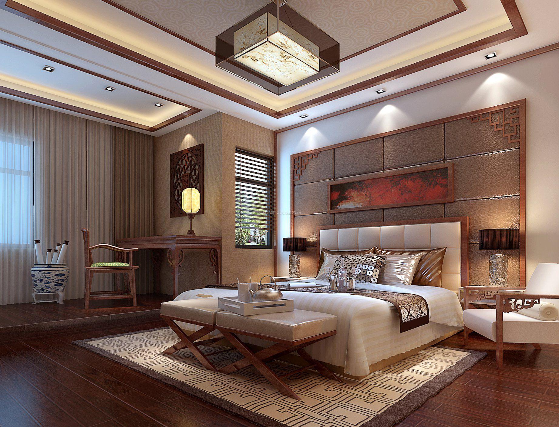 别墅现代新中式风格卧室装修效果图