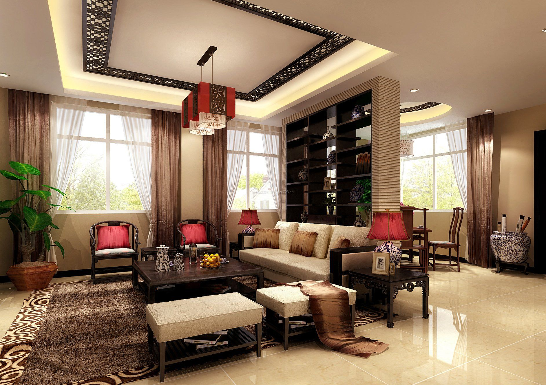 现代简约新中式客厅风格装修效果图大全