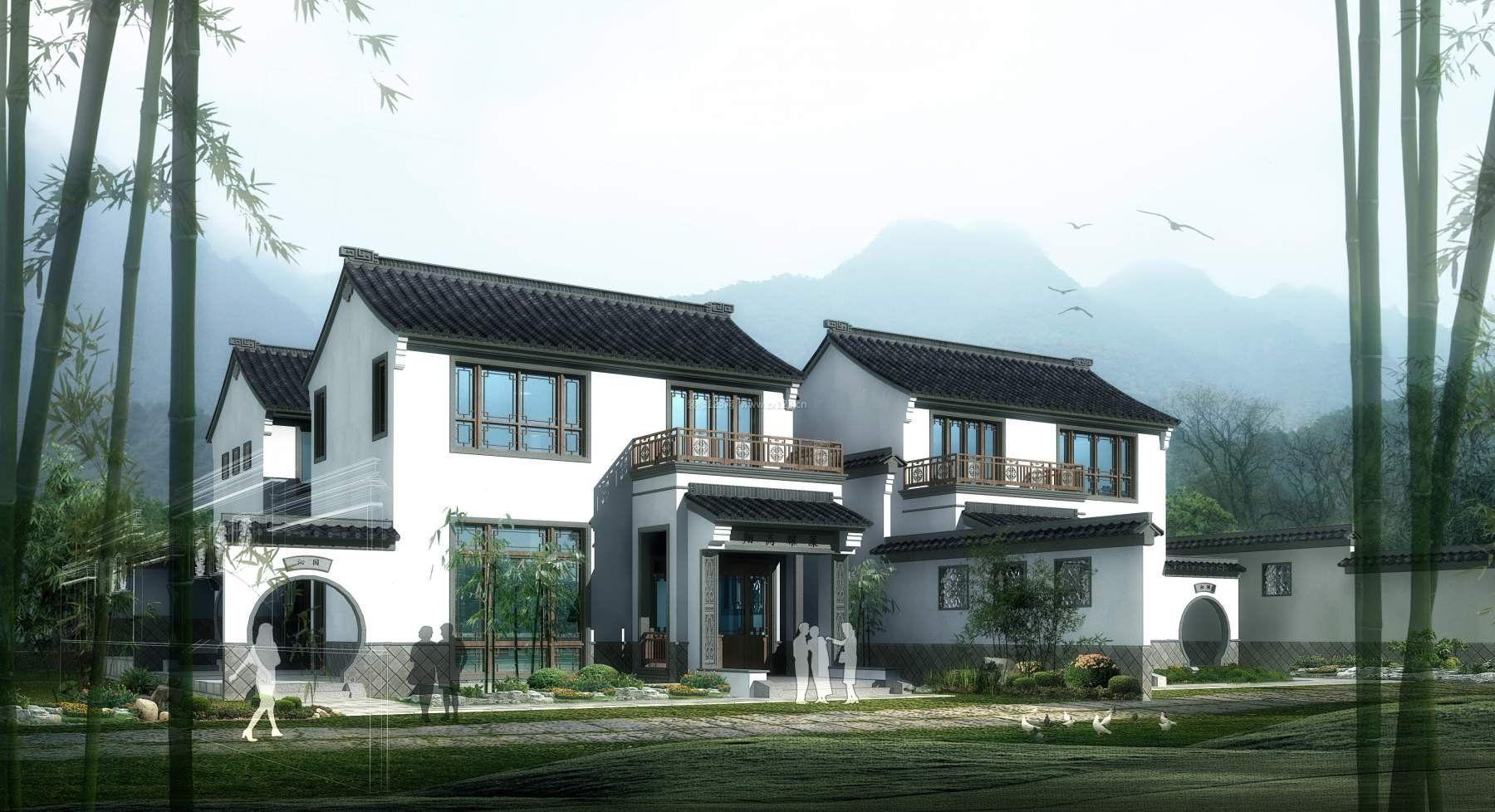 现代中式小别墅外观图片大全图片