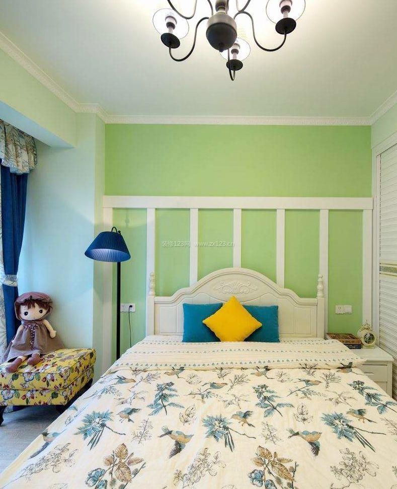 简欧田园风格儿童卧室床头背景墙装修效果图片图片