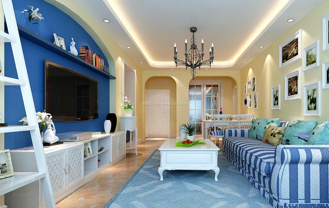 蓝白地中海房屋室内吊顶设计效果图