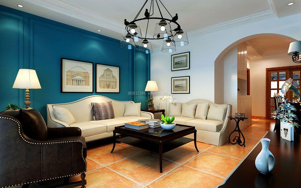 简约美式风格沙发背景墙装修效果图片欣赏图片