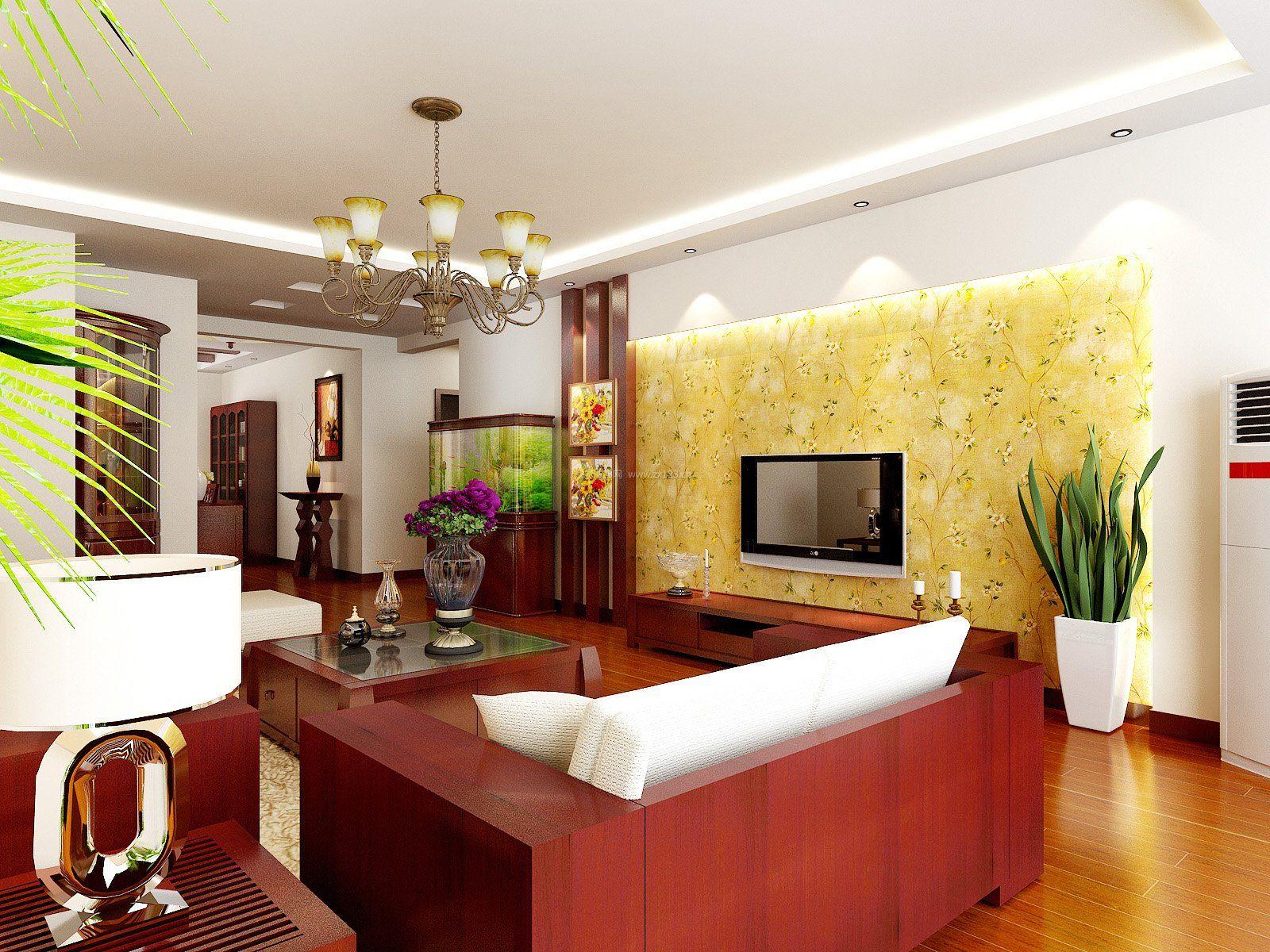现代中式装修客厅红木沙发背景墙效果图