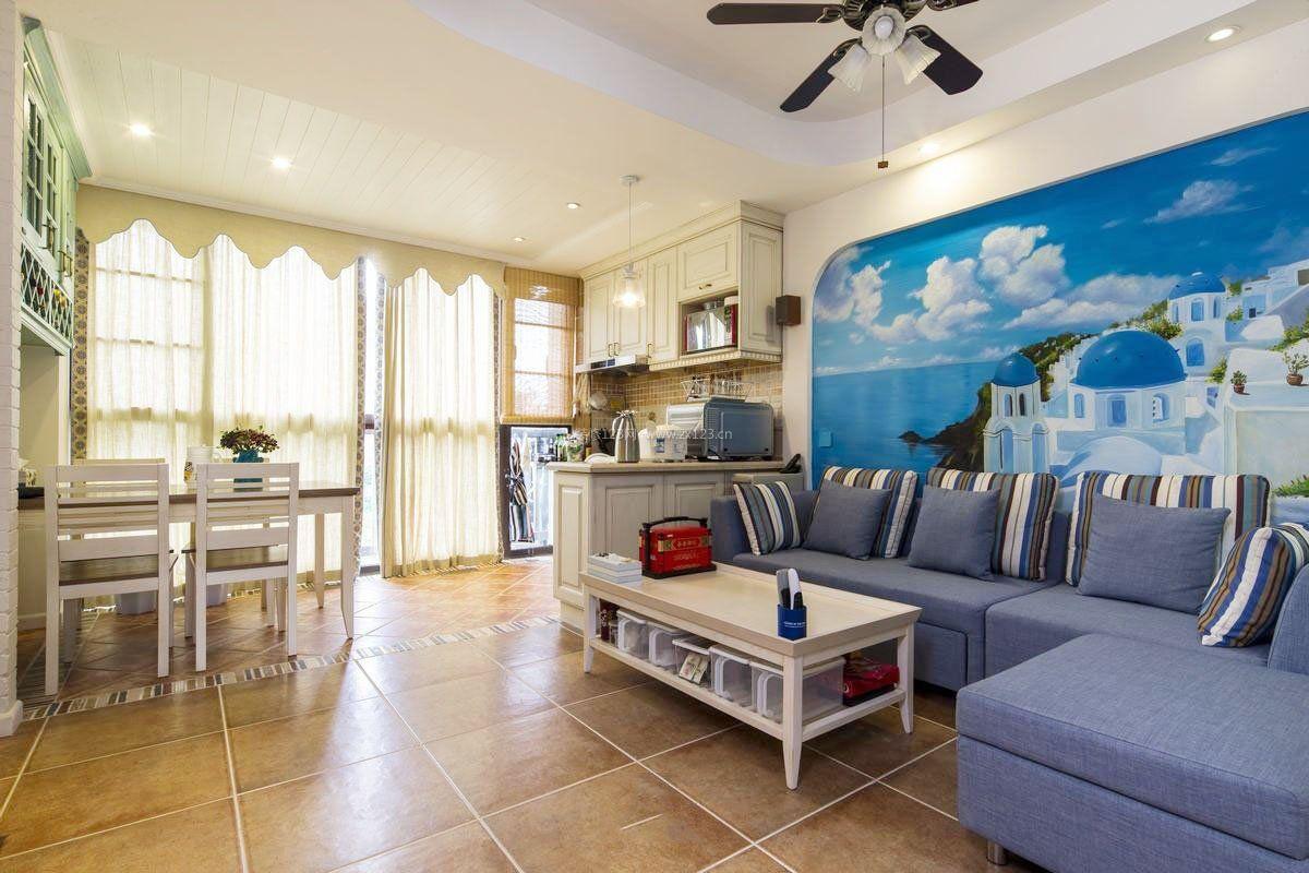地中海家具风格客厅地砖装饰效果图图片