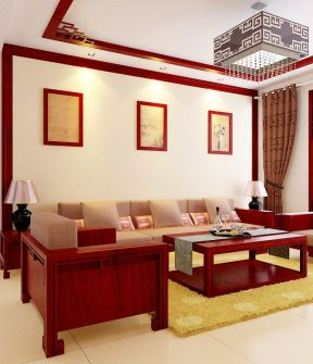 新中式风格装饰元素客厅红木沙发背景墙大全效果图