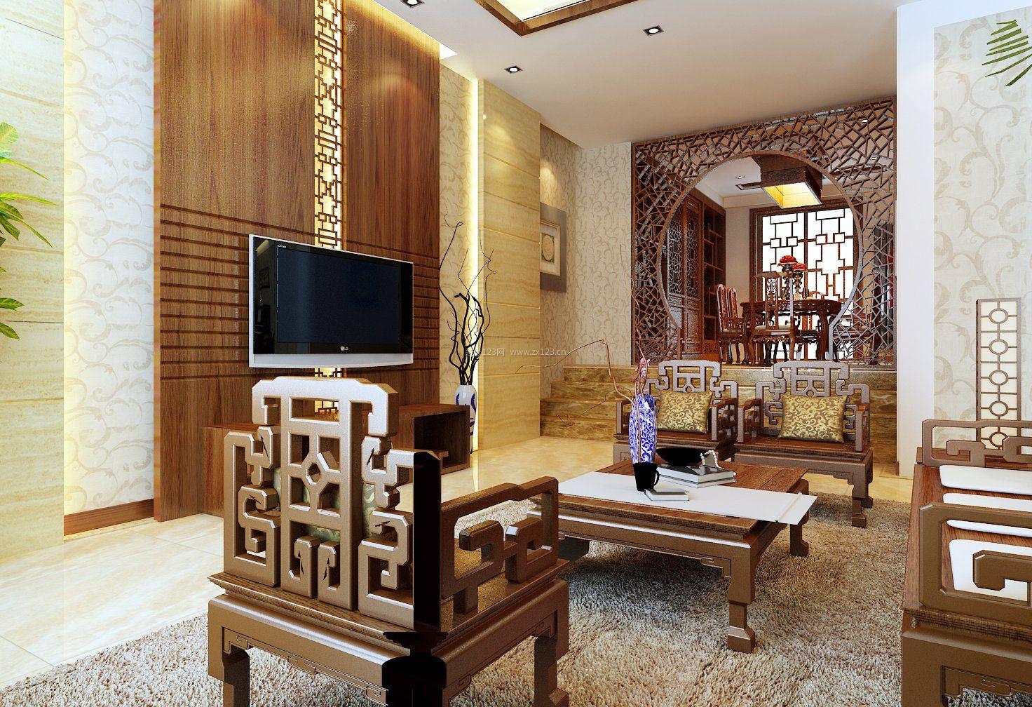 新中式装修风格室内客厅电视墙设计图图片