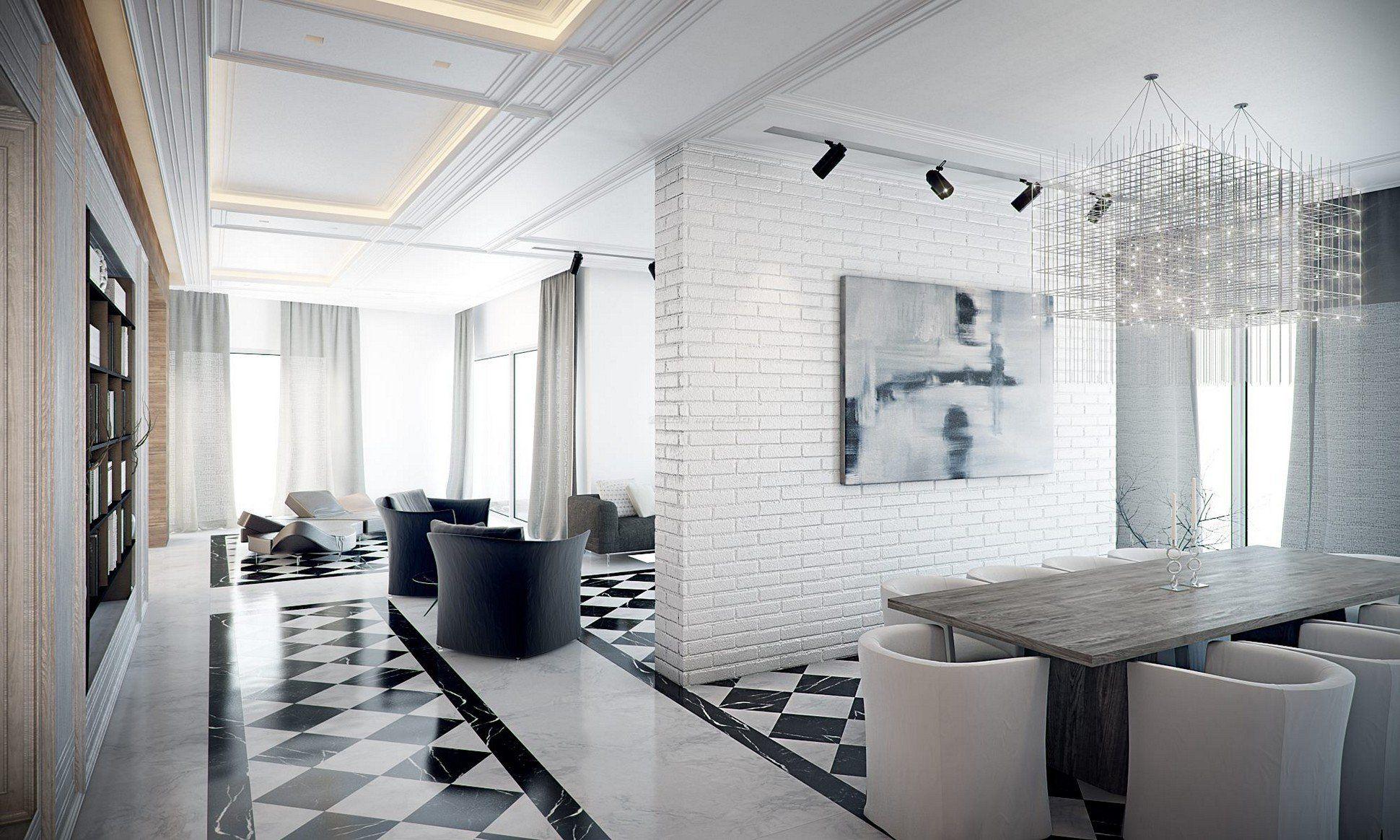 现代简约风格房屋黑白相间地砖装修效果图片