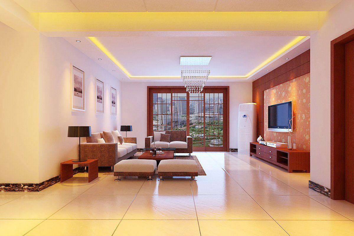 新中式装修风格客厅地砖装修效果图片