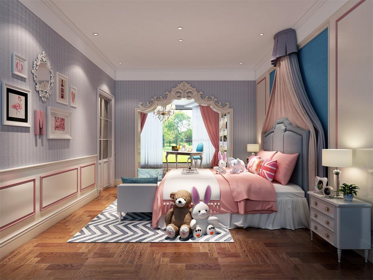 别墅女孩房间装饰画装修效果图片