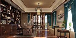 新中式書房布藝窗簾裝修效果圖片