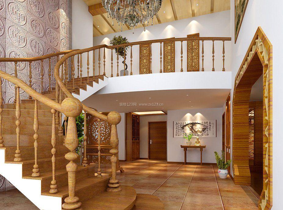 别墅设计木楼梯扶手装修效果图