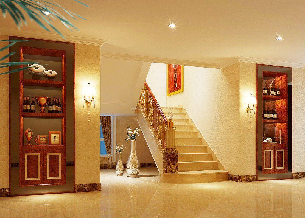 现代中式家装别墅楼梯设计效果图