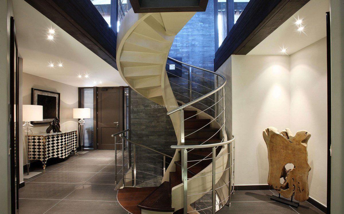 别墅室内楼梯弧形梯装修效果图片