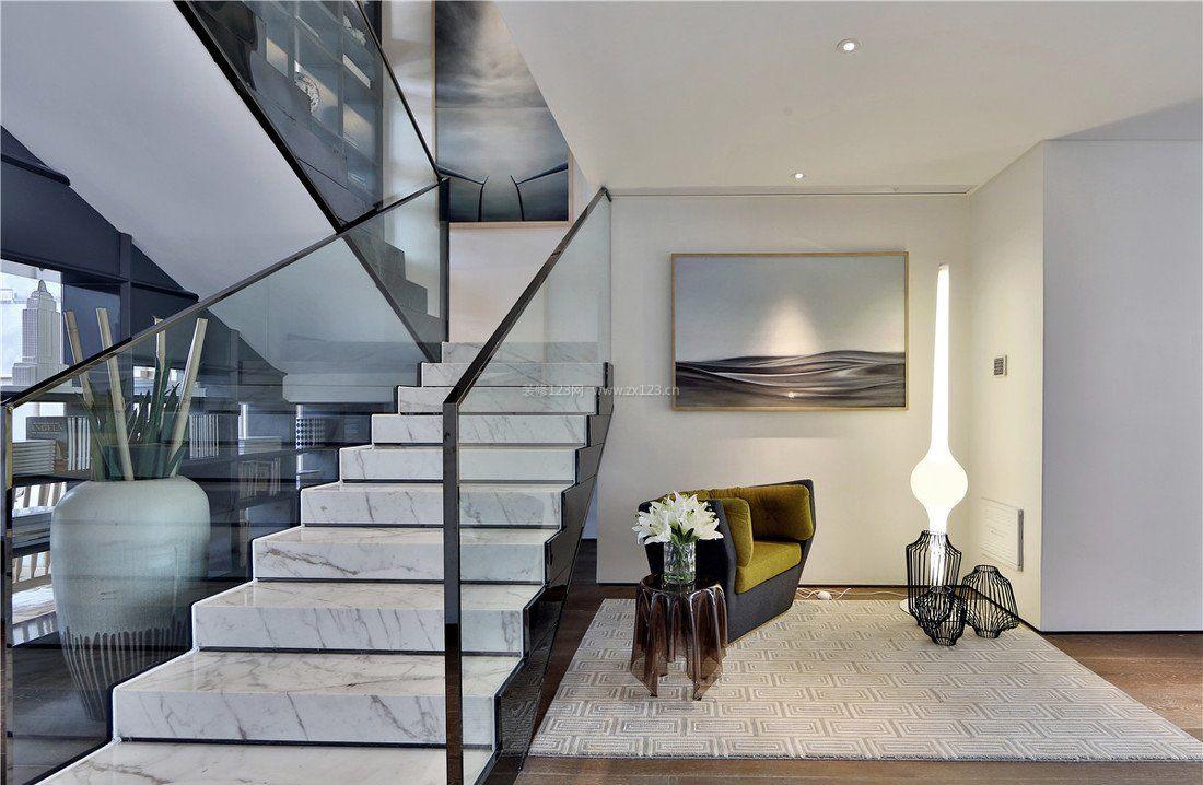 别墅室内楼梯扶手设计图片大全_装修123效果图