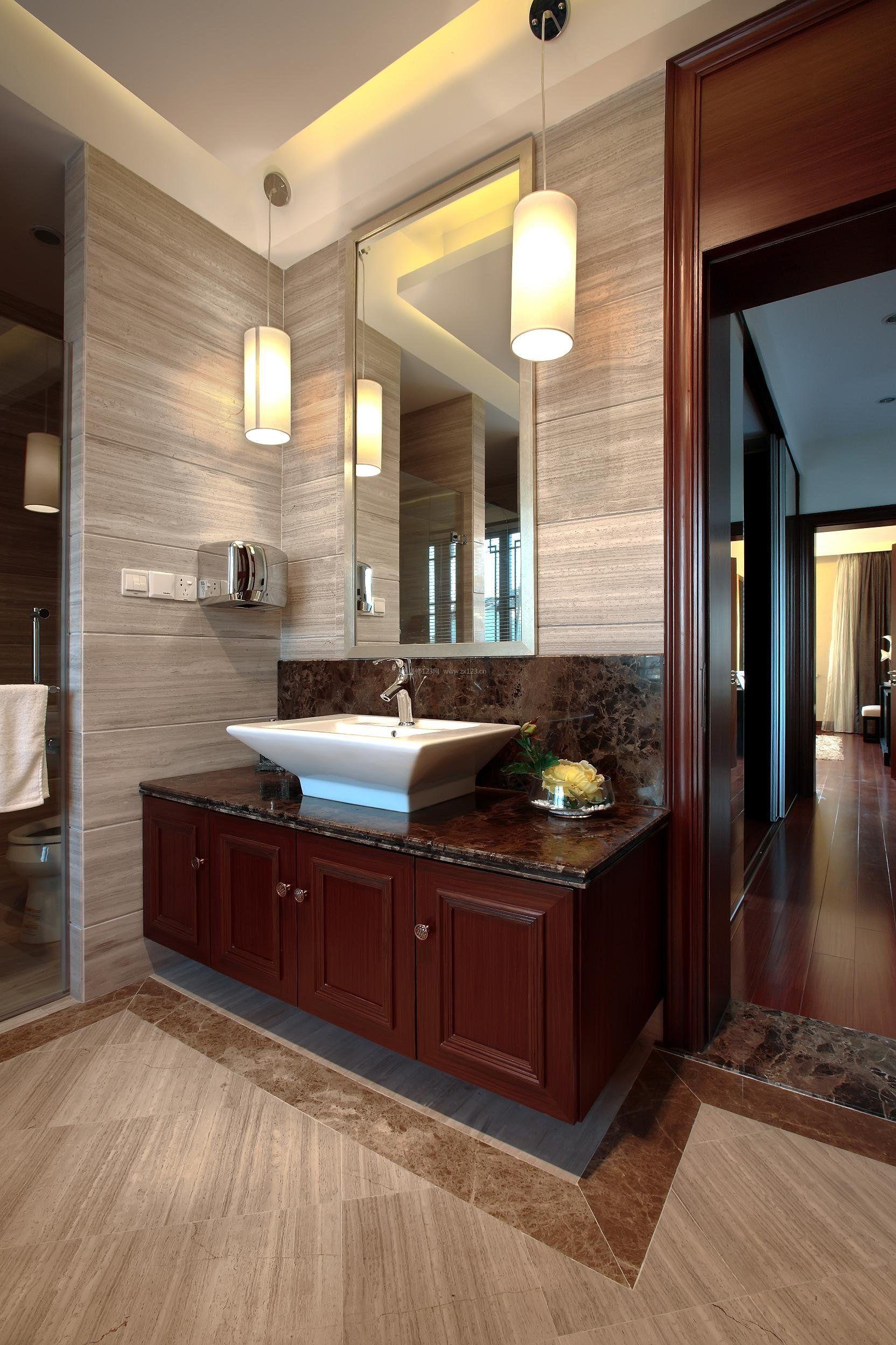中式简约风格厕所浴室柜装修效果图片