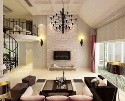 北歐風格裝修設計躍層客廳燈具效果圖