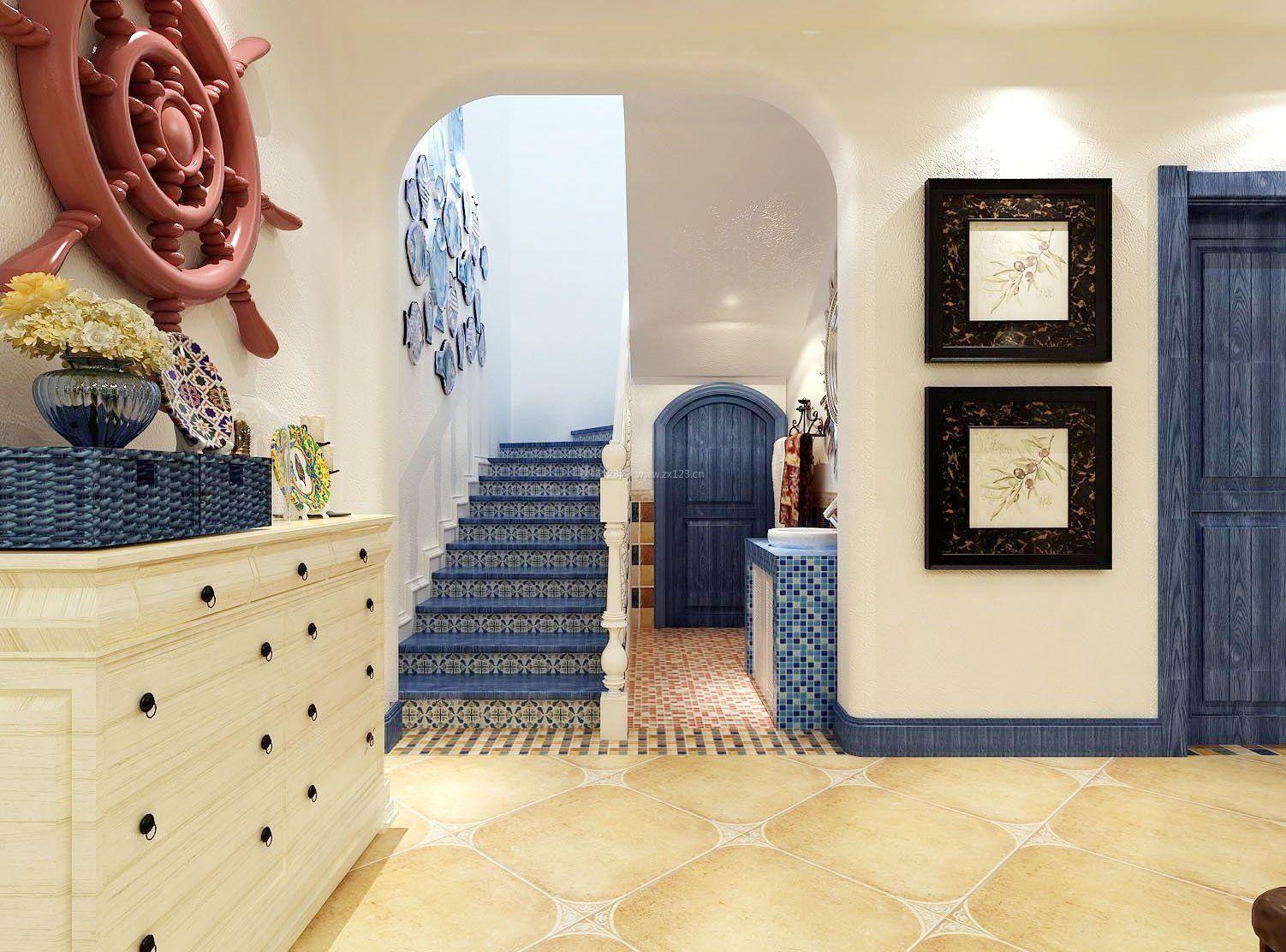 小户型地中海风格复式楼阁楼楼梯效果图_装修123效果图图片