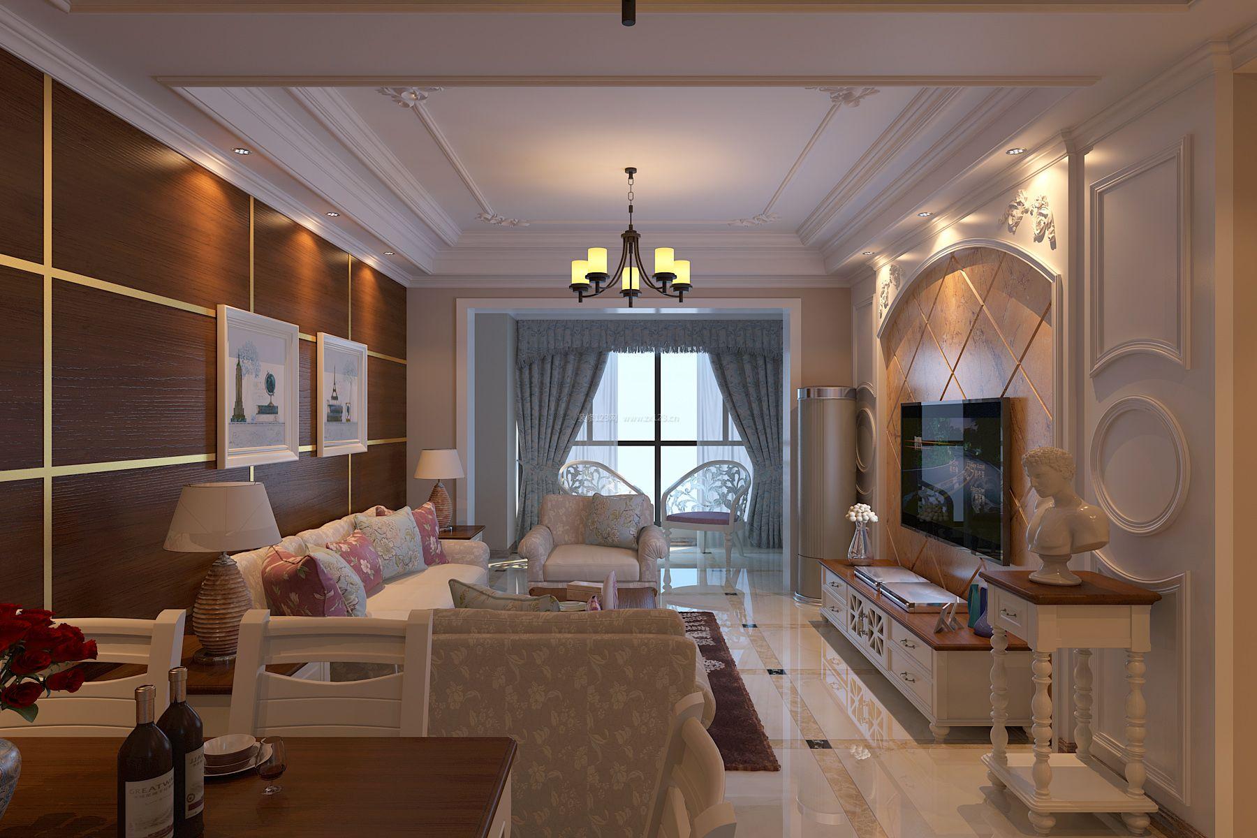 简欧风格小户型客厅整体装修效果图片图片