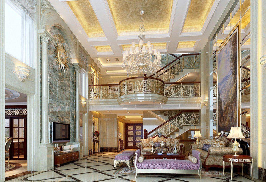 欧式别墅建筑风格客厅电视背景墙效果图欣赏图片