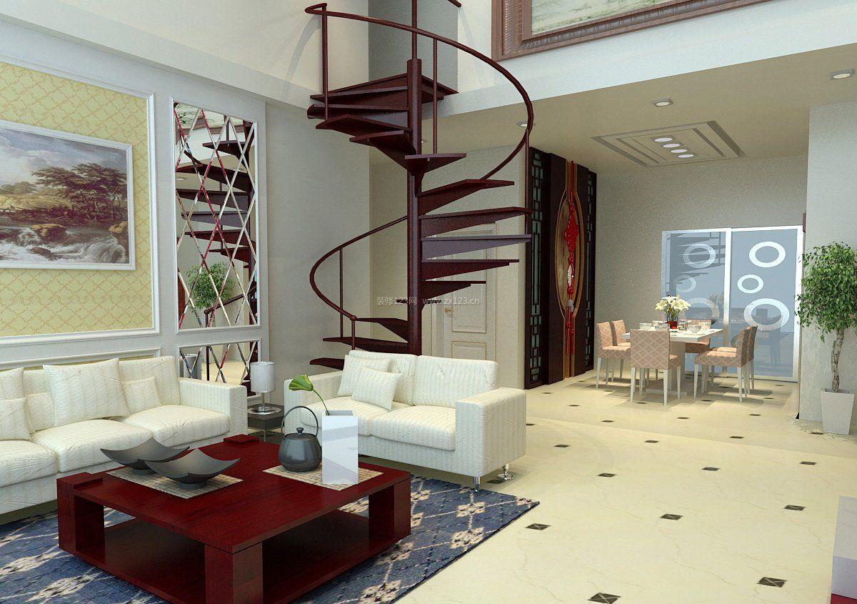 现代复式楼阁楼旋转楼梯装修效果图片图片
