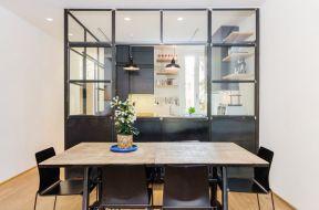 現代廚房隔斷圖片 黑色門框裝修效果圖片