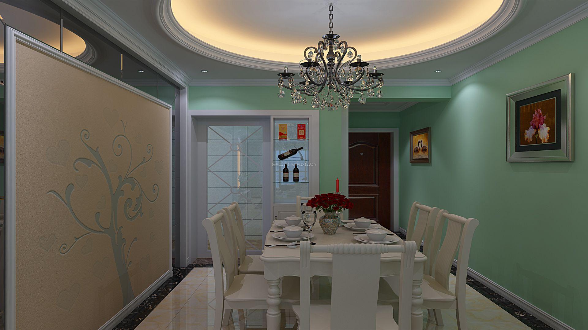 家居餐厅圆形吊顶设计装修效果图片