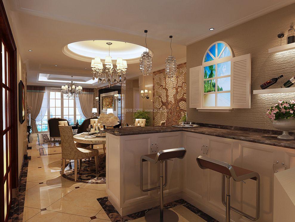 小户型别墅欧式风格家庭酒柜吧台装修效果图图片