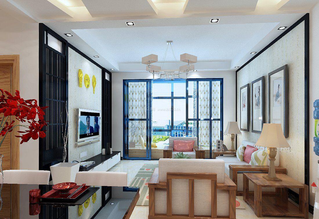 温馨小户型客厅通阳台装修效果图片