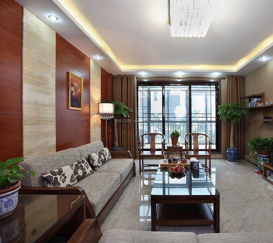 新中式家装风格客厅通阳台装修效果图
