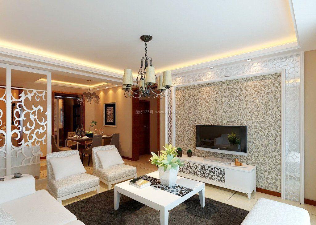 140平米房子客厅电视背景墙纸装修效果图