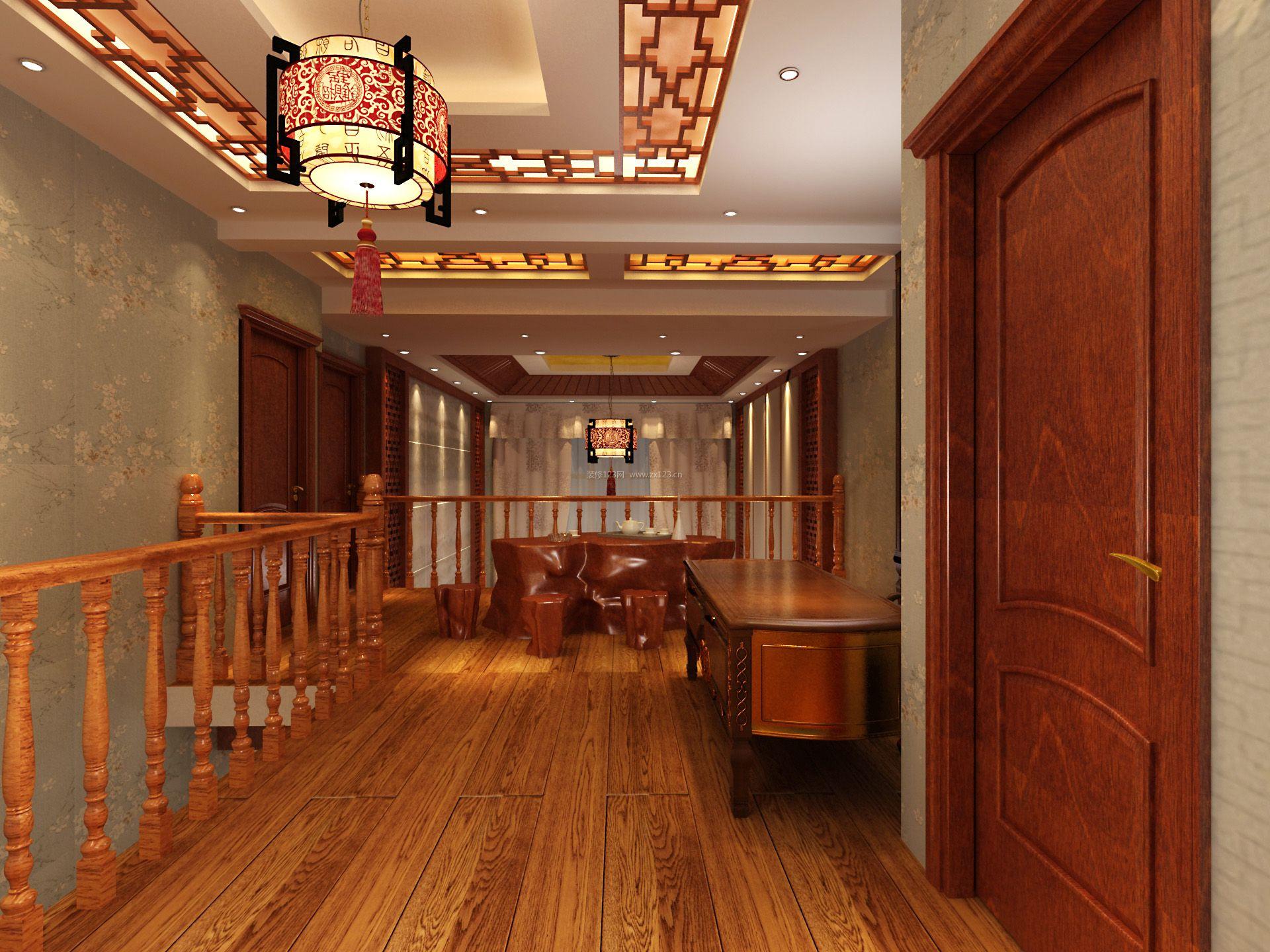 简约新中式风格别墅实木楼梯扶手装修效果图