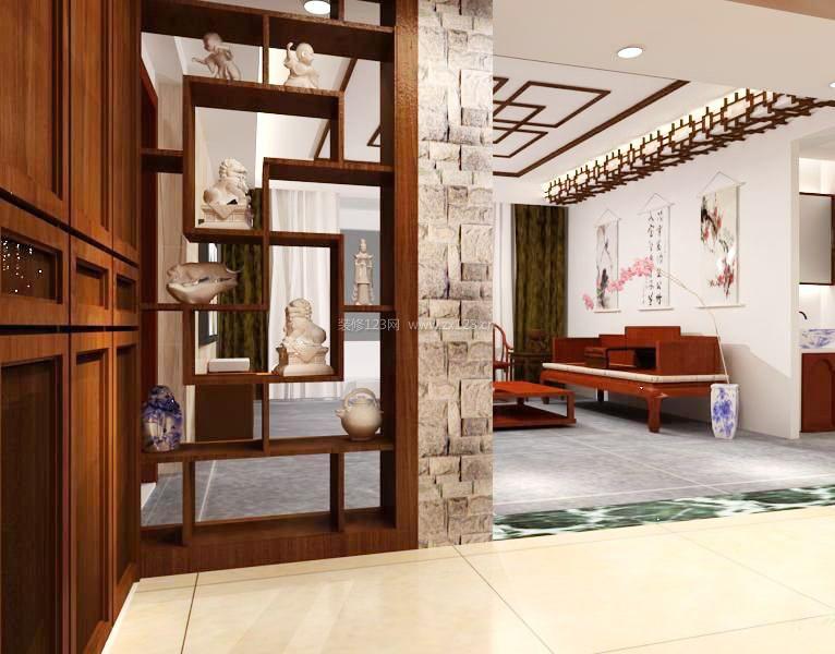 客厅中式实木博古架实景图片