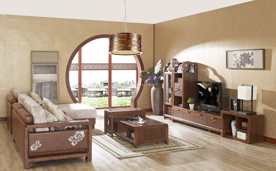 中式客厅实木电视柜实景图片_装修123效果图