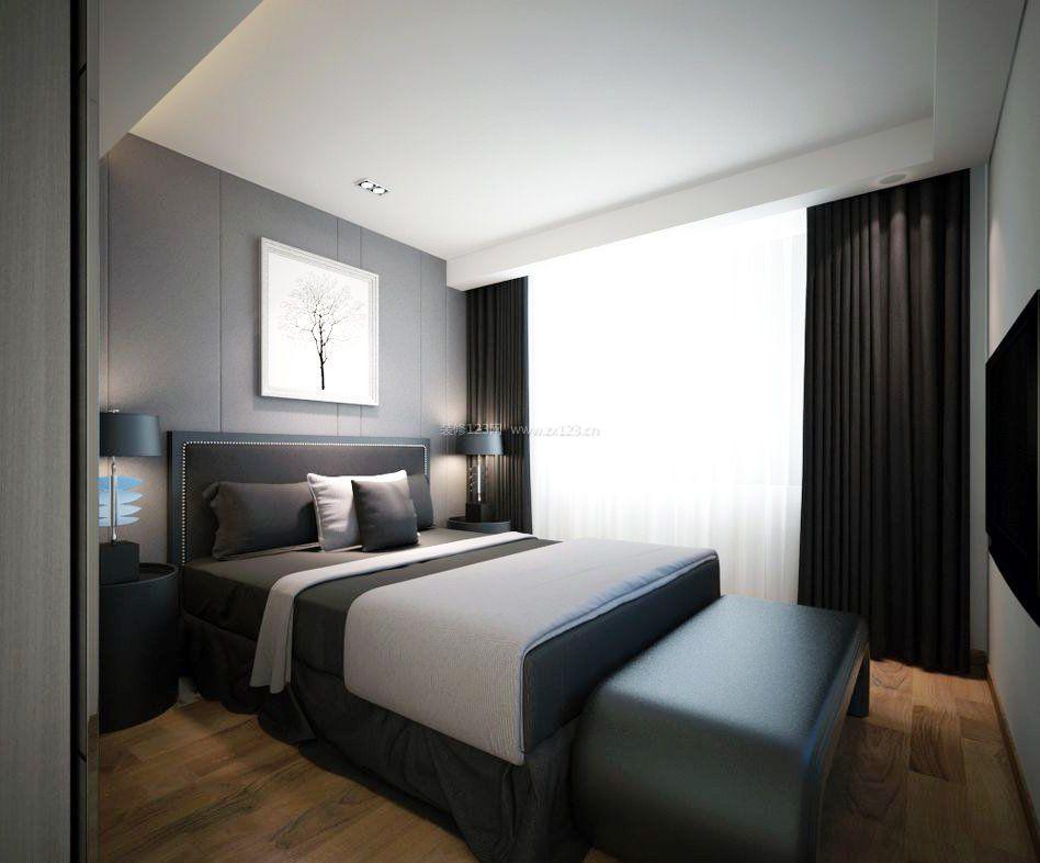 黑白灰家装16平米卧室效果图欣赏_装修123效果图