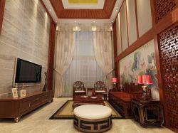 新中式别墅客厅沙发背景墙装修效果图欣赏图片