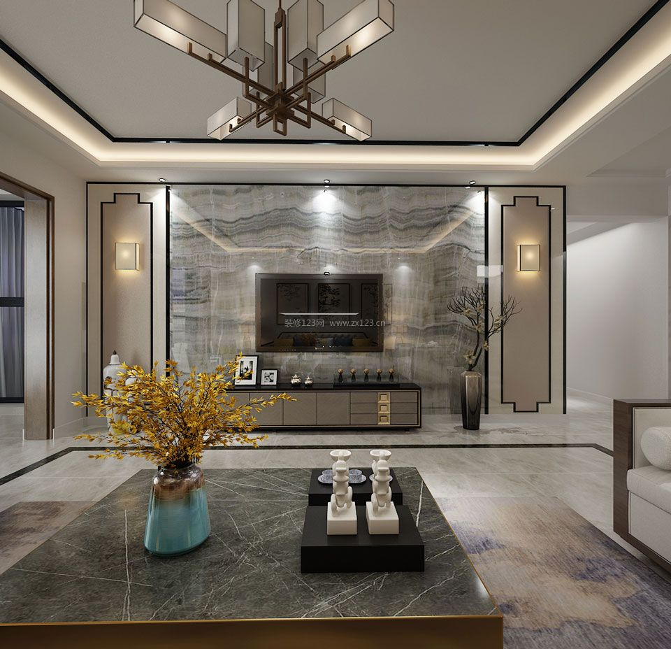 新中式家装风格客厅微晶石电视墙装修效果图图片