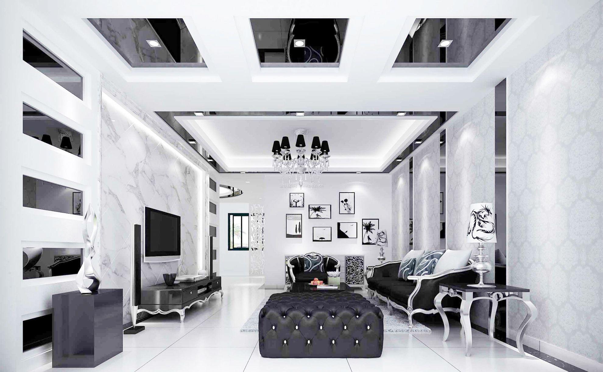 后现代风格房子客厅沙发装饰效果图_装修123效果图