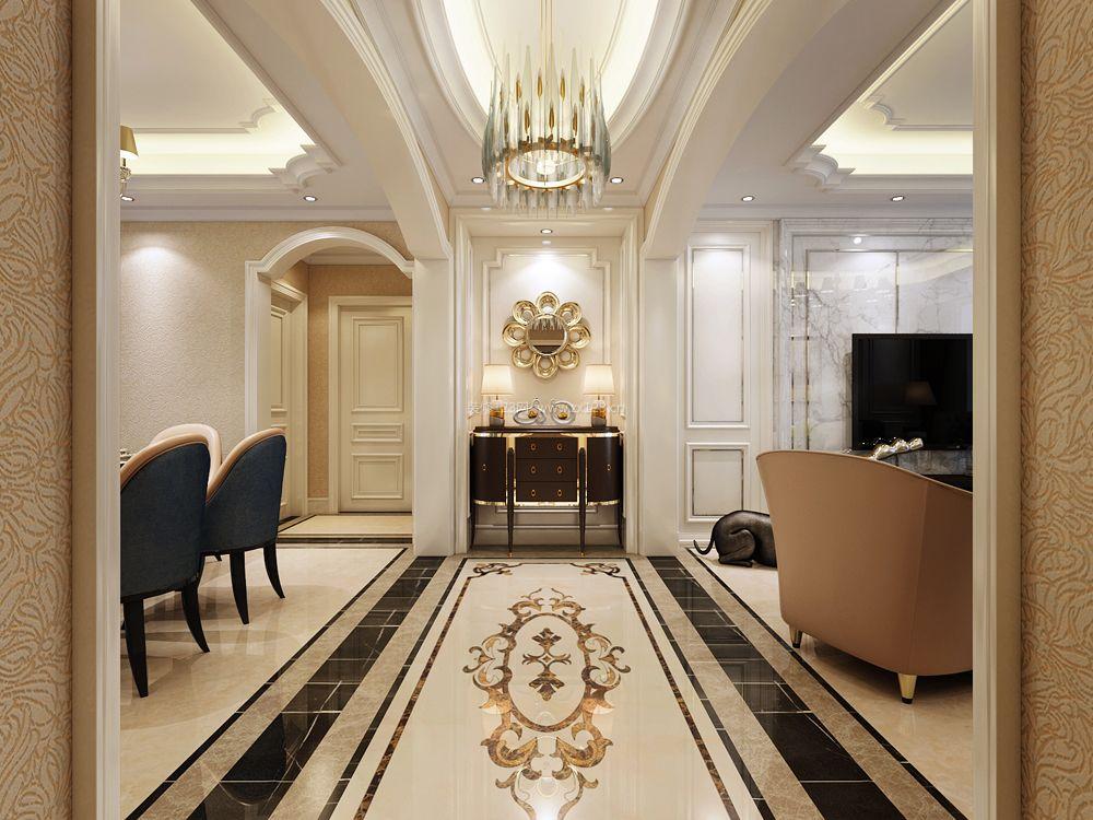 简欧美式风格走廊拼花地砖装修效果图片图片