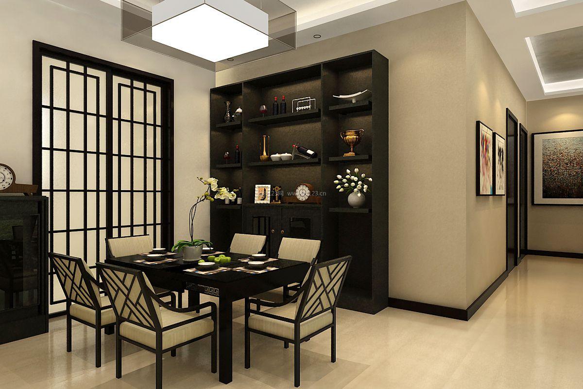 简约新中式风格家庭餐厅酒柜装修效果图图片