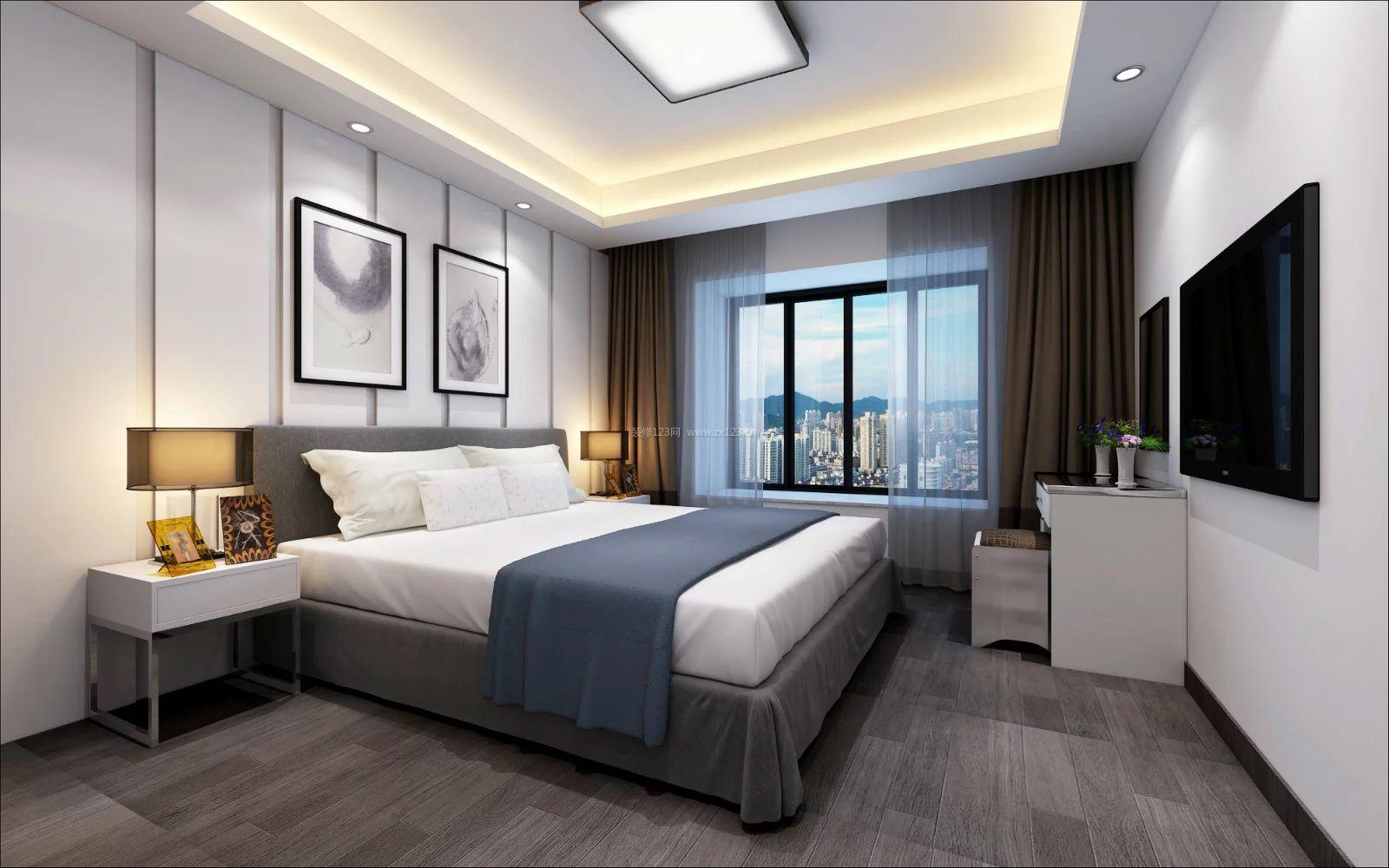 现代简约卧室灰色木地板装修效果图片