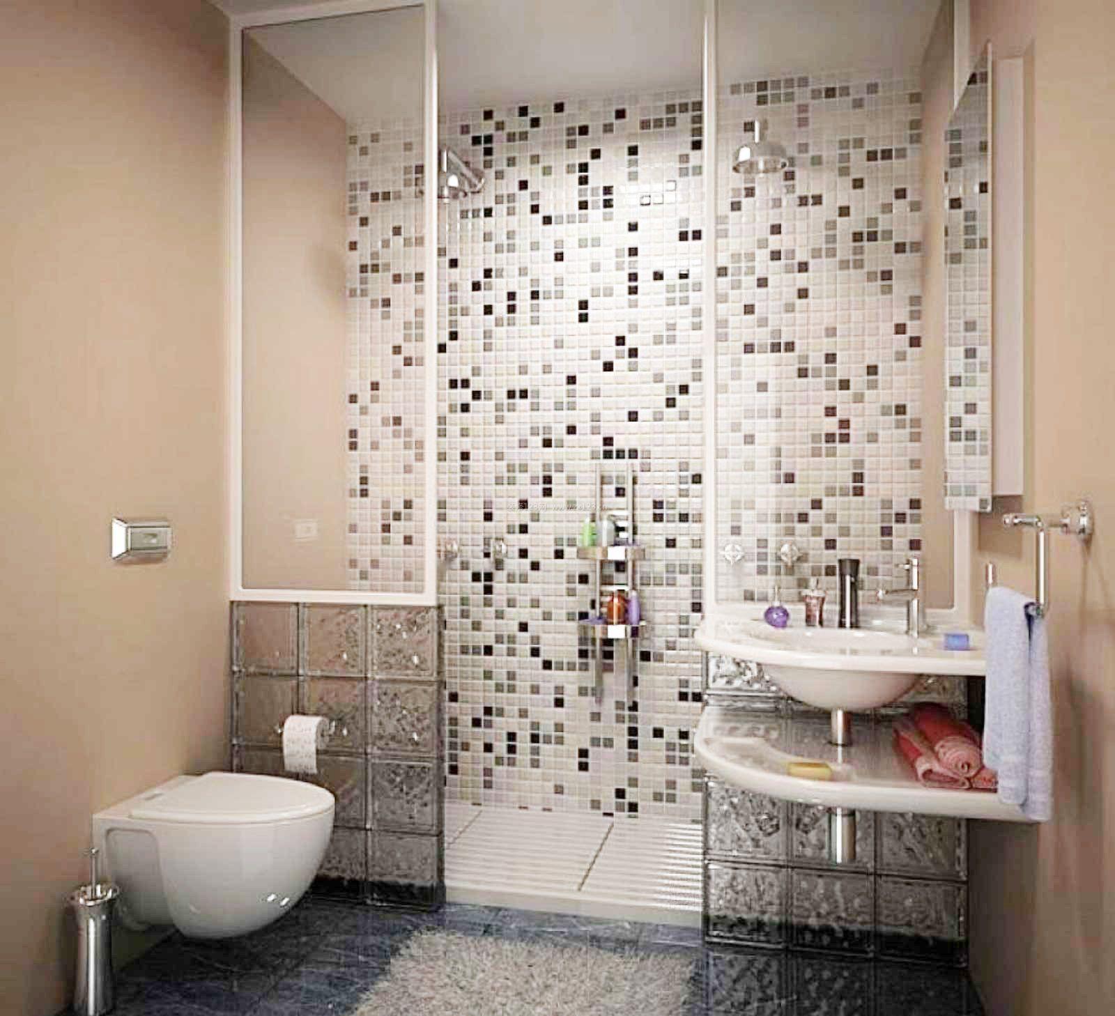 小面积卫生间墙面马赛克背景墙效果图图片欣赏