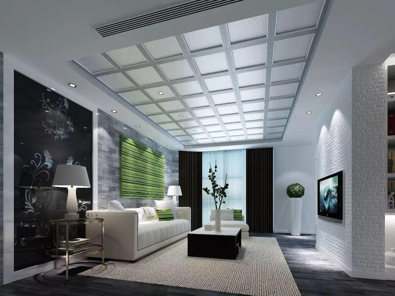 创意客厅吊顶造型效果图欣赏图片
