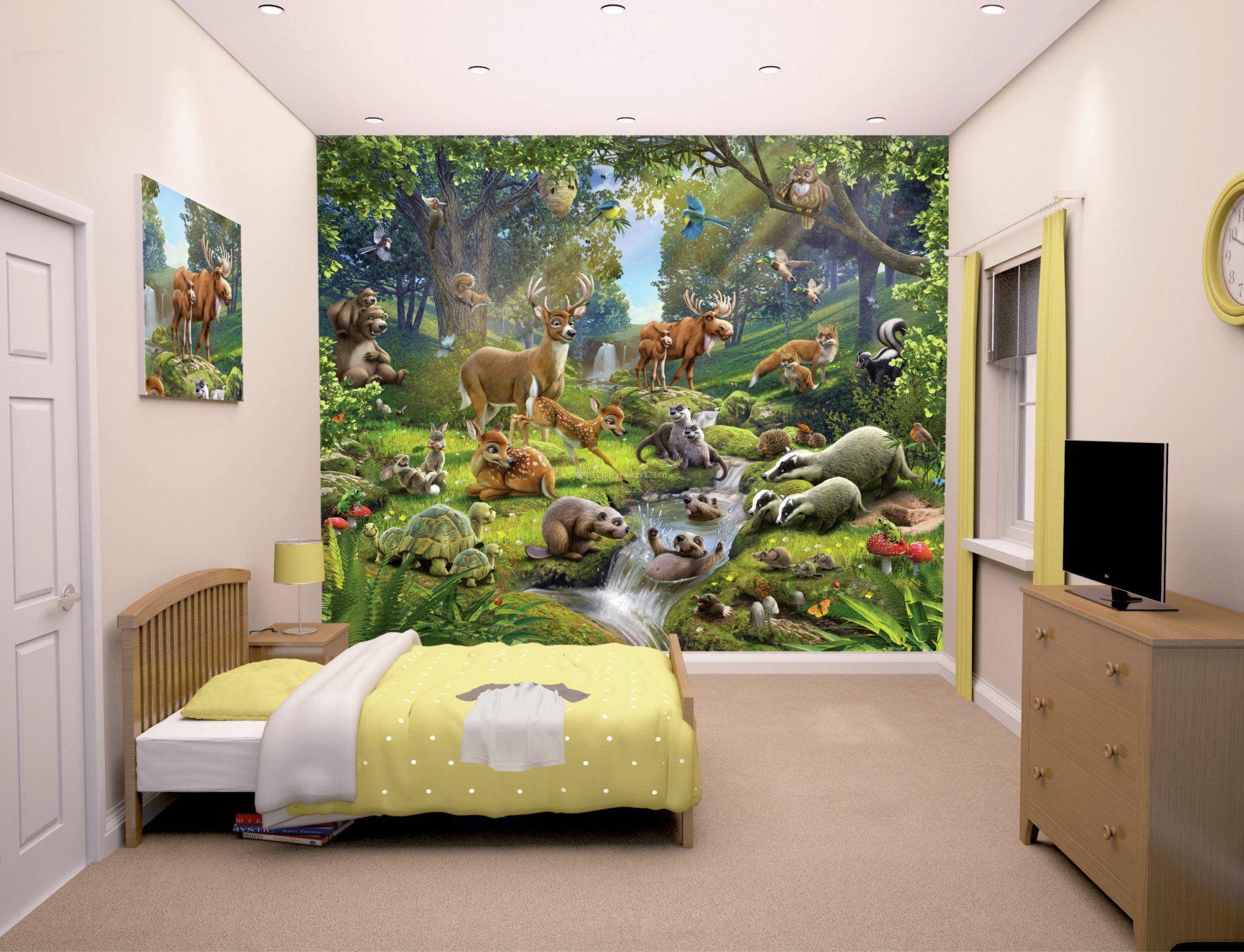 美式风格卧室墙纸背景墙_装修123效果图图片